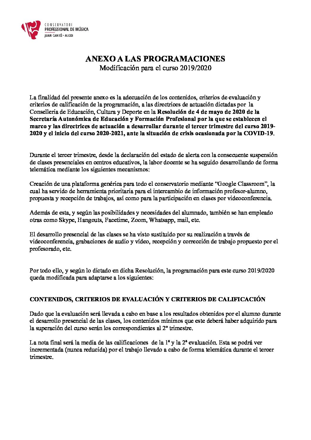 ANEXO A LAS PROGRAMACIONES POR LA COVID-19