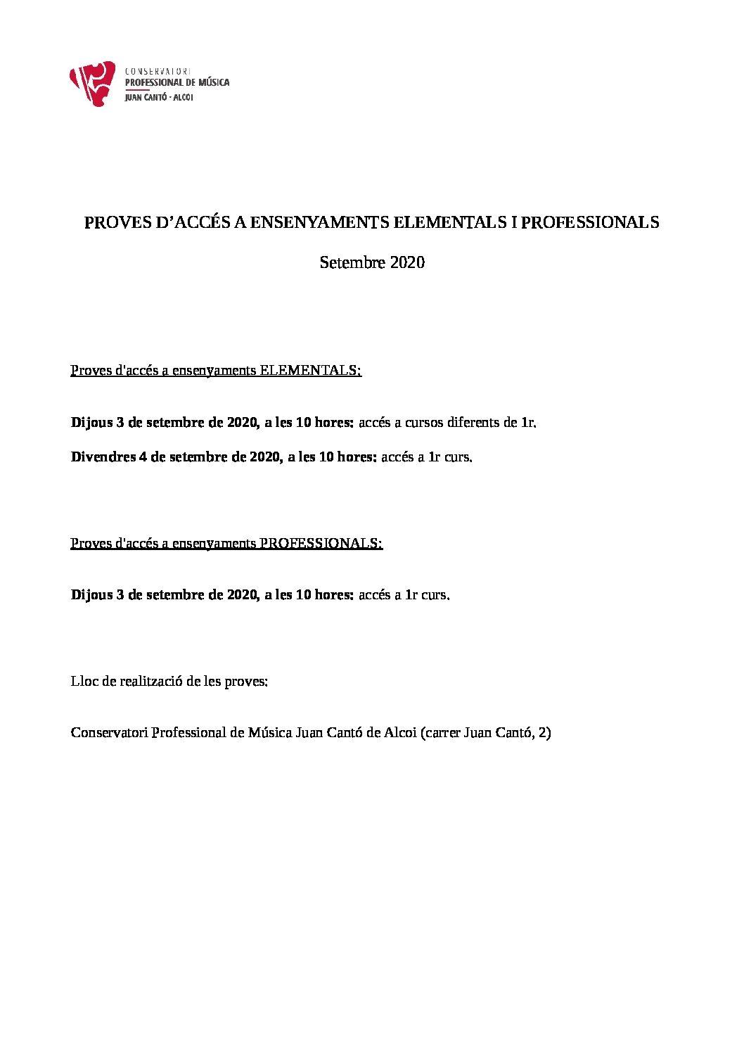 PROVES D'ACCÉS A ENSENYAMENTS ELEMENTALS I PROFESSIONALS(SETEMBRE 2020)