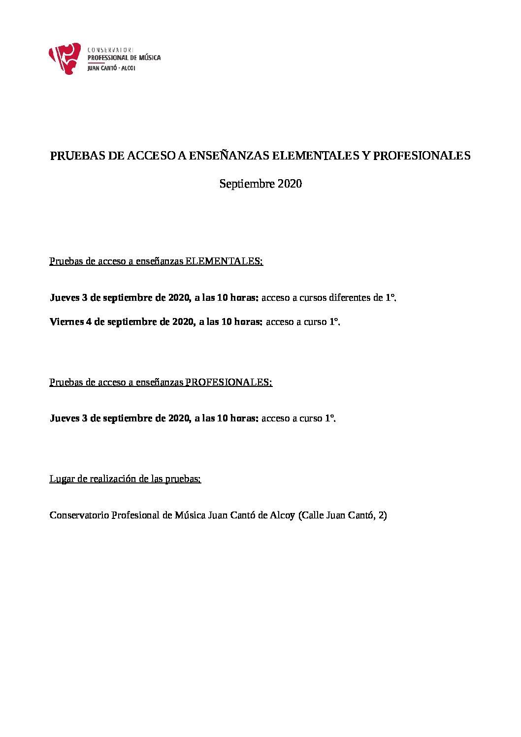 PRUEBAS DE ACCESO A ENSEÑANZAS ELEMENTALES Y PROFESIONALES (SEPTIEMBRE 2020)